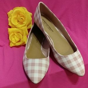 New Pink and White Checkered Flats